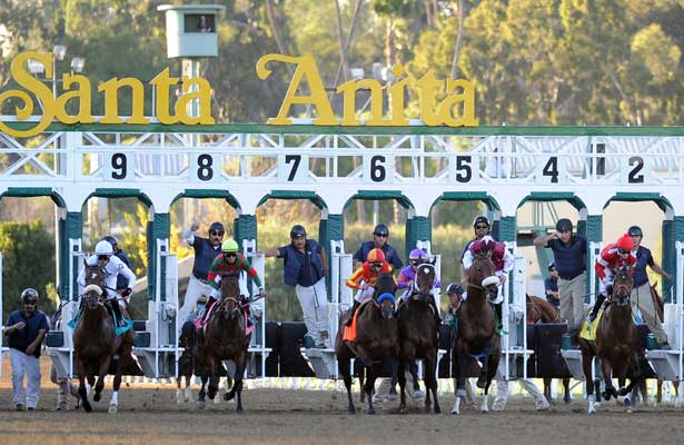 January 15, 2011.Horses break from the gate for The San Fernando Stakes at Santa Anita Park, Arcadia, CA
