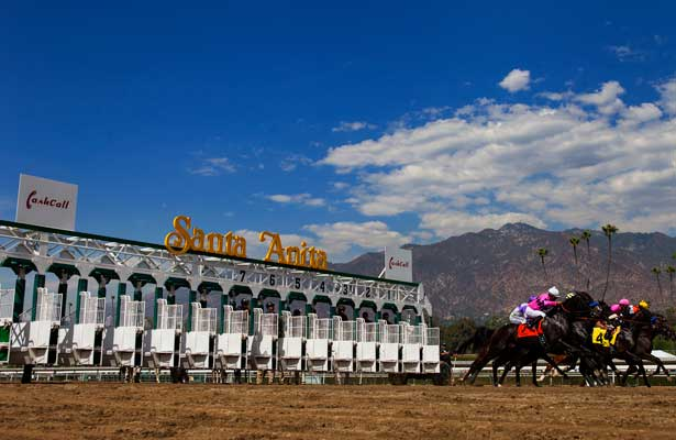 The field breaks from the gate at Santa Anita Park, Arcadia California on September 29, 2012.