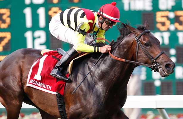 July 28, 2013. Silver Max, Robby Albarado up, wins the Grade III Oceanport Stakes at Monmouth Park. Trainer is Dale Romans; owners are Mark Bacon and Dana Wells. Monmouth Park, Oceanport, NJ. ©Joan Fairman Kanes/Eclipse Sportswire