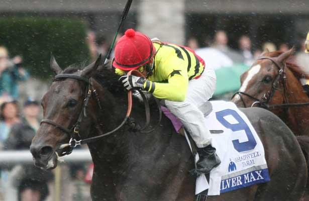 Silver Max and Robby Albarado win the 28th running of The Shadwell Turf Mile Grade 1 $750,000 at Keeneland Race Course for owners Mark Bacon and Dana Wells and trainer Dale Romans. October 05, 2013.