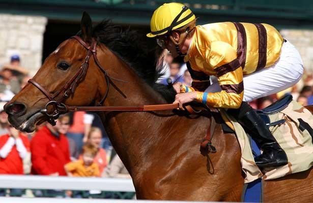 Successful Dan and jockey Julien Leparoux win the Ben Ali Stakes Grade 3 $150,000 at Keeneland Racecourse for owner Morton Finke and trainer Charles LoPresti. April 21, 2013.