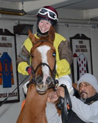 Taylor Rice in Aqueduct winners circle