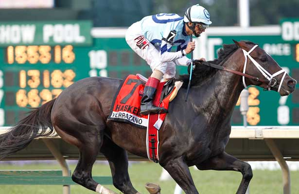 July 28, 2013. Verrazano, John Velazquez up, wins the Grade I Haskell Invitational at Monmouth Park. Trainer is Todd Pletcher; owners are Let's Go, Tabor, Magnier and Smith. Monmouth Park, Oceanport, NJ. ©Joan Fairman Kanes/Eclipse Sportswire