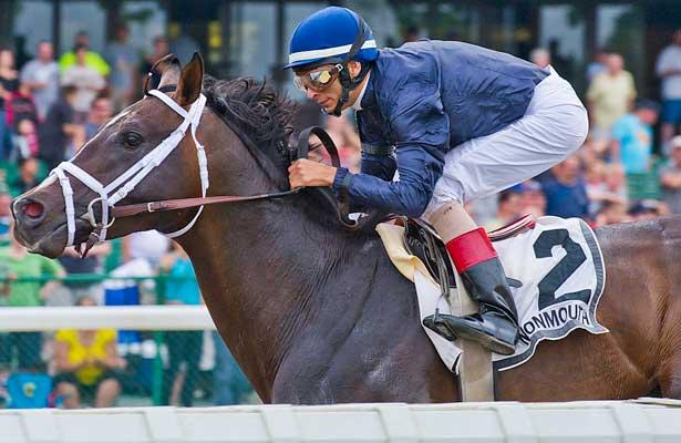 Verrazano, John Velazquez up, wins the GIII Pegasus Stakes at Monmouth Park Racetrack in Oceanport, New Jersey.