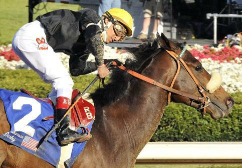 11 April 2009: Papa Clem, with Rafael Bejarano in the saddle, wins the 73rd running off the grade 2 Arkansas Derby for three year olds at Oaklawn Park in Hot Springs, Arkansas.