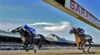 It's Tricky (no. 5), ridden by Eddie Castro and trained by Kiaran McLaughlin, wins the 95th running of the grade 1 Coaching Club American Oaks for three year old fillies on July 23, 2011 at Saratoga Race Track in Saratoga Springs, New York. (Bob Mayberger/Eclipse Sportswire)
