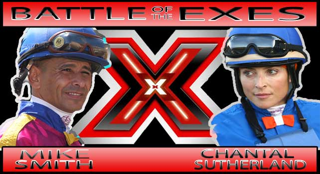 Jockeys Mike Smith and Chantal Sutherland ride in the Battle of the Exes at Del Mar on August 7, 2011
