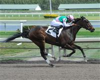 Close Hatches wins an Allowance race at Gulfstream Park in 2013 with Joel Rosario aboard.