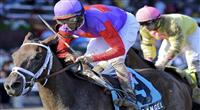 Georgie's Angel (no. 9), ridden by John Velazquez and trained by Todd Pletcher, wins the 93rd running of the grade 3 Schuylerville Stakes for two year old fillies on July 22, 2011 at Saratoga Race Track in Saratoga Springs, New York. (Bob Mayberger/Eclipse Sportswire)