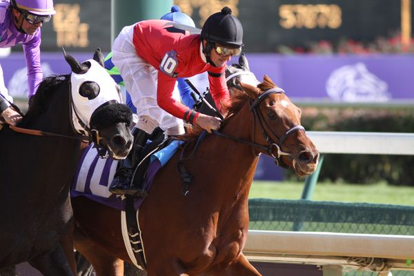 Niji's Grand Girl with Robby Albarado (black cap) out runs Victoria'a Wildcat with Kent Desormeaux (lavender cap) to win the 3rd race at Churchill Downs. 10.31.2010..photo Ed Van Meter