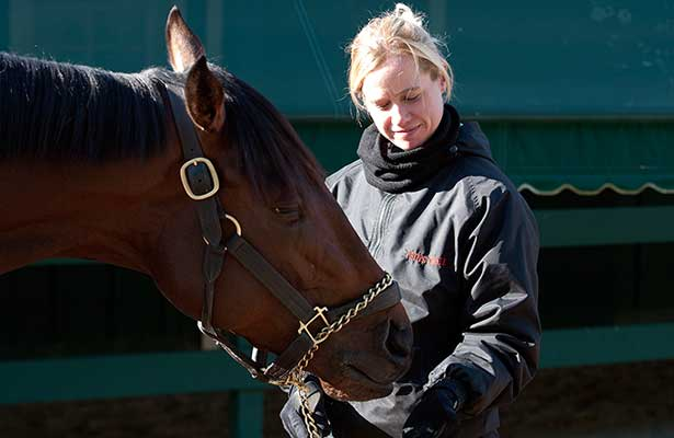 Orb, with assistant trainer Jenn Patterson, relax at Pimlico Race Course on Monday, May 14 in preparation for Saturday's $1 million Preakness Stakes (G1).