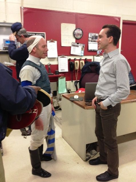 Ramon Dominguez (right) talking with Mike Luzzi (left) in the jockey's room.