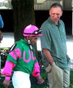 Trainer Gary P Gullo along side jockey Jorge Chavez.